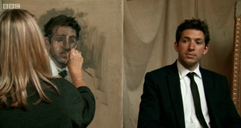 Nicky Philipps painting James Fox for A Very British Renaissance